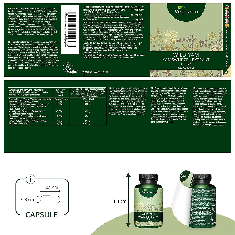 VEGAVERO® Wild Yam Root Extract | 720 mg + Zinc Per Capsule, 120 Capsules |  100% Vegan