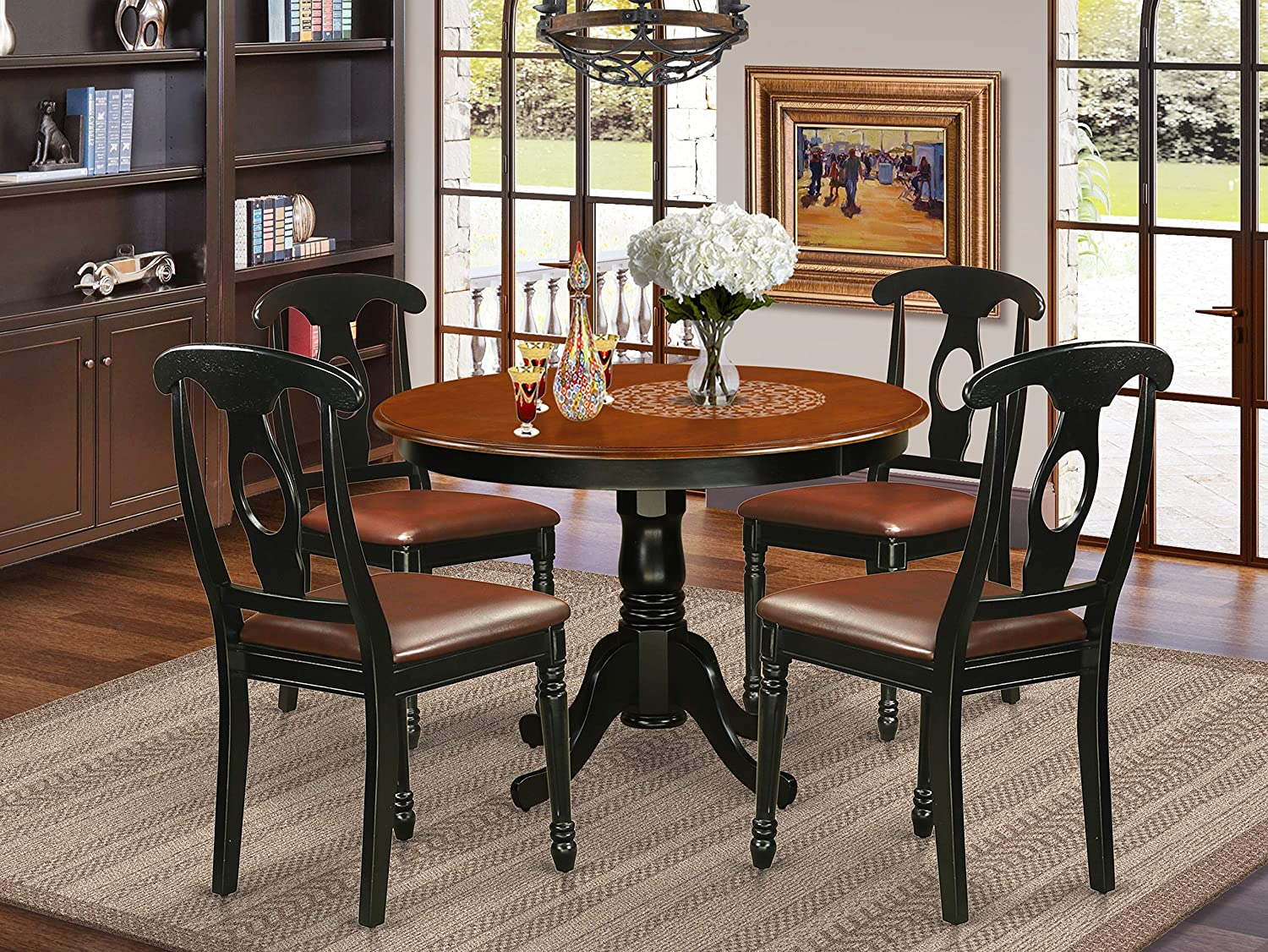 Amazon Com 5 Pc Set With A Round Kitchen Table And 4 Leather Dinette Chairs In Linen White Table Chair Sets