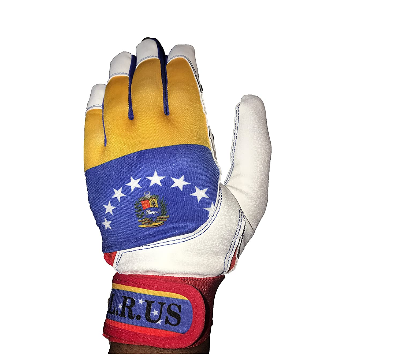 Venezuela Flagバッティング手袋 – ホワイト B06ZZP4TMC XL