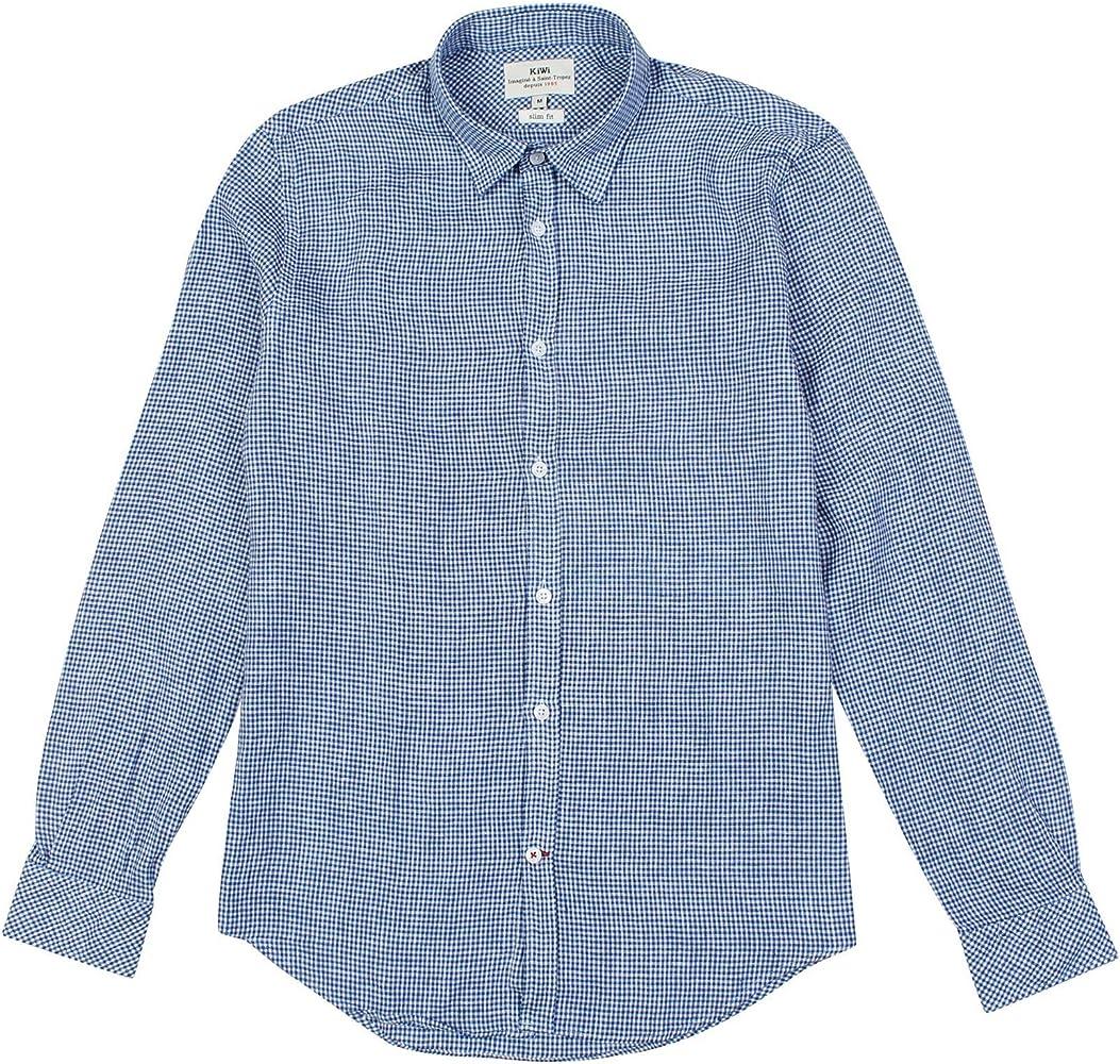 Kiwi Saint Tropez para Hombre Azul Slim Fit Check Camisa: Amazon.es: Ropa y accesorios