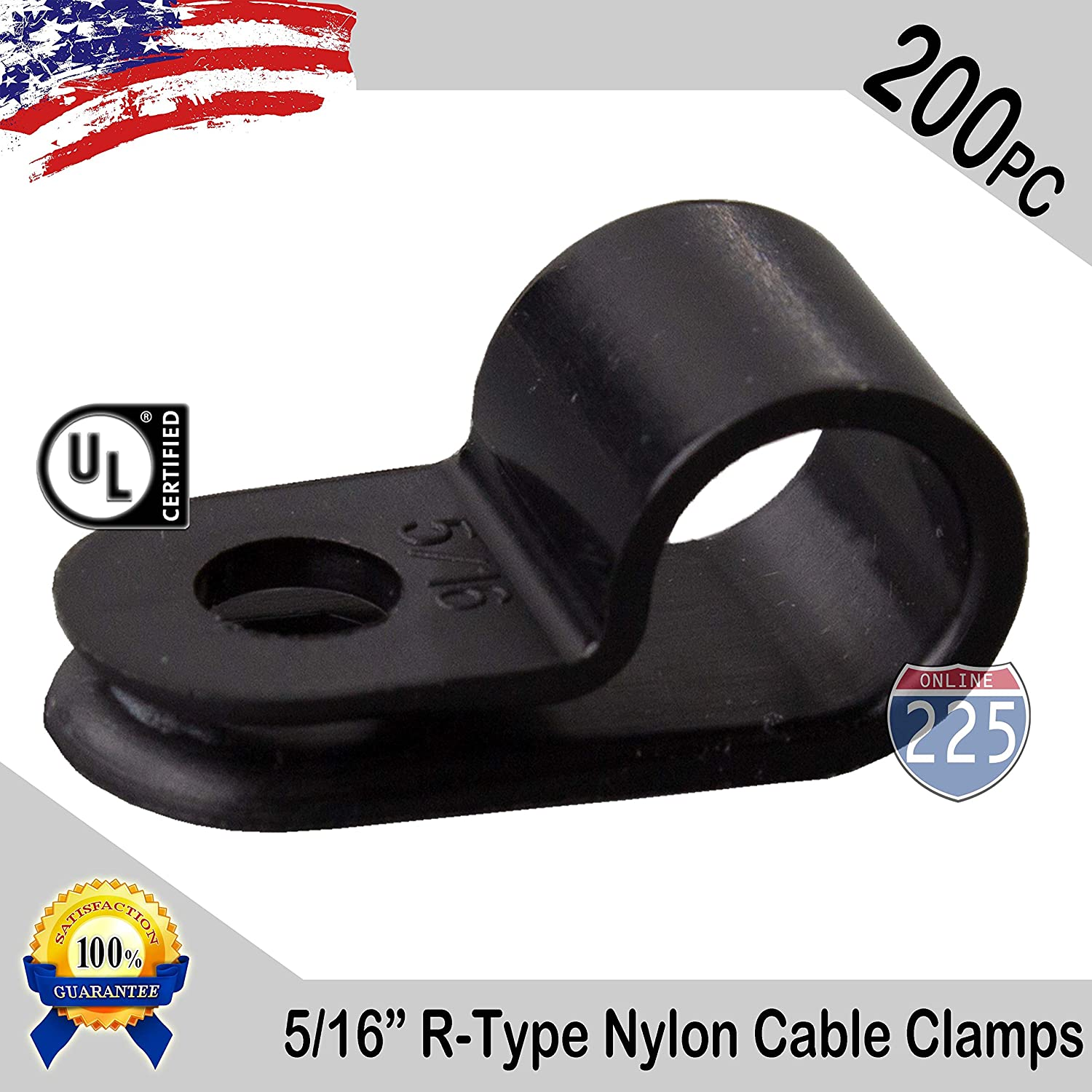 100 PIECES PACK 1//2 Inch R-Type CABLE CLAMPS NYLON BLACK HOSE WIRE ELECTRICAL UV