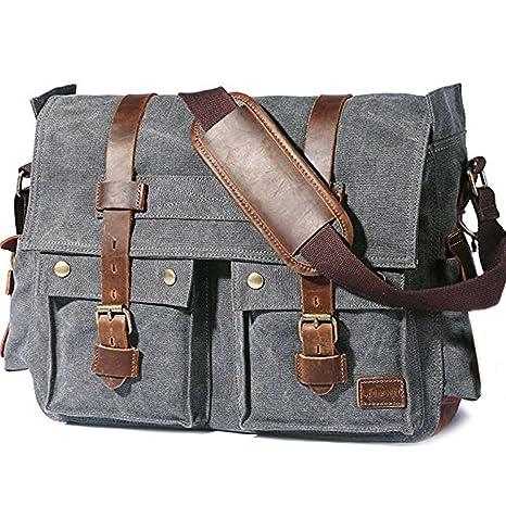 7ae532b53db8 Image Unavailable. Image not available for. Color  KK s  15.6 quot -17.3 quot  Men s Messenger Bag Vintage Canvas Leather Military  Shoulder Laptop Bags
