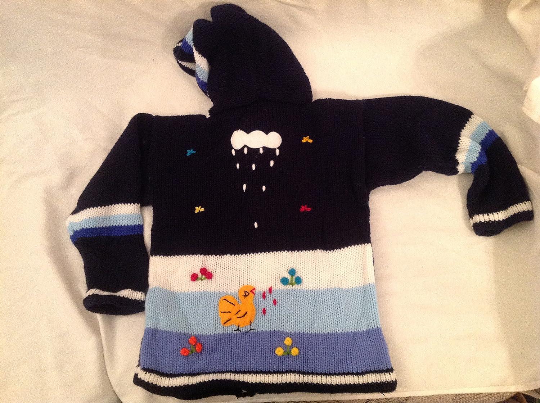 7344edb67 Amazon.com  Children alpaca wool hand knitted navy blue sweater in 3-D  designs size 6  Baby