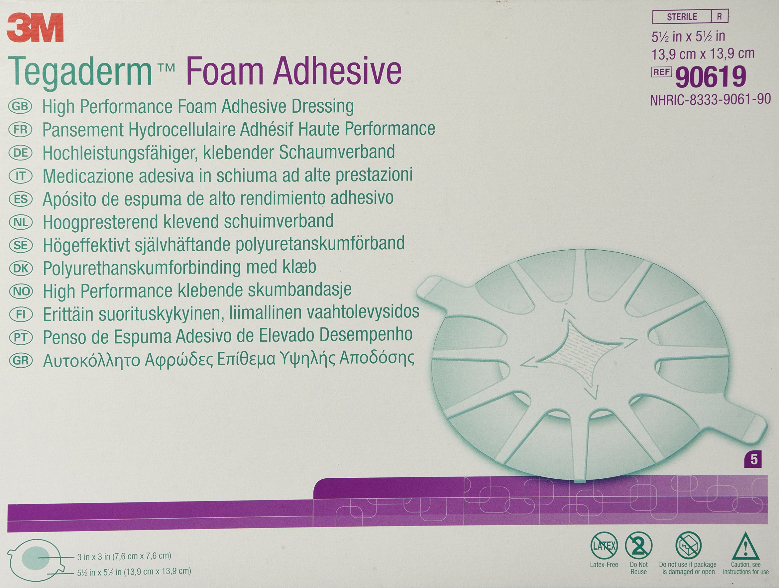 3M Tegaderm High Performance Foam Adhesive Dressing 90619, Heel Design, 5 Pads by 3M