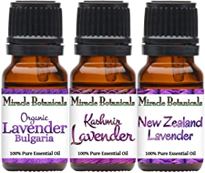 Miracle Botanicals Lavender Trio - 100% Pure Essential Oils of Bulgarian, New Zealand, and Kashmir Lavenders - Therapeutic Grade - Set of 3-10ml