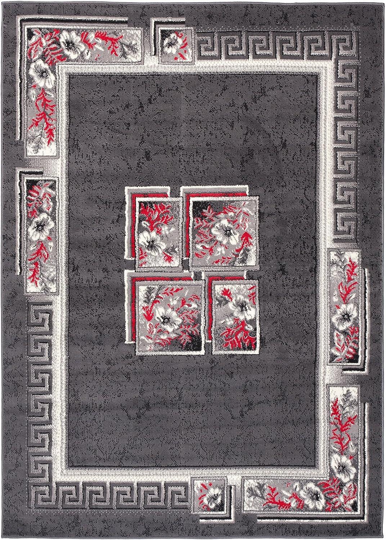 TAPISO Dream Tappeto Soggiorno Salotto Moderno Grigio Bianco Geometrico Quadrato Foglie Floreale A Pelo Corto 80 x 150 cm