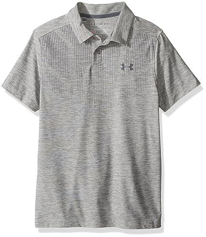 aadea1070 Under Armour Boys' Tour Polo Shirt, True Gray Heather (025)/Rhino