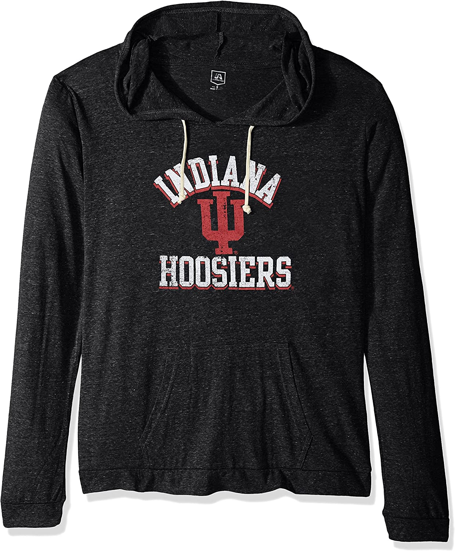 NCAA Womens Soft Lightweight Hoodie Black Heather Indiana Hoosiers Large