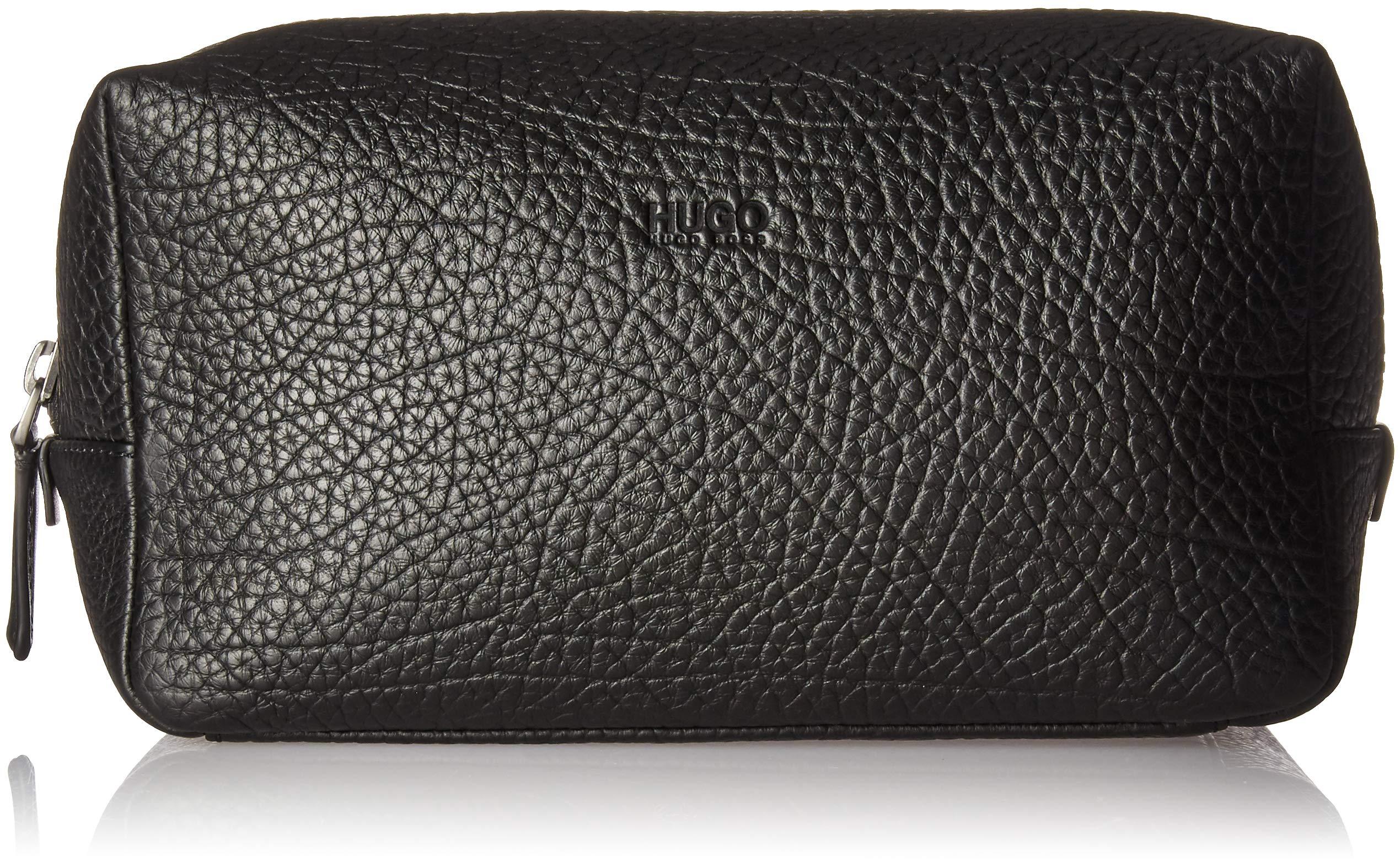 HUGO by Hugo Boss Men's Victorian Leather Washbag/DOB Kit, black, One Size