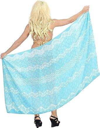 LA LEELA Womens Plus Size Swimwear Bikini Cover-Ups Beach Towel Wrap Full Long A
