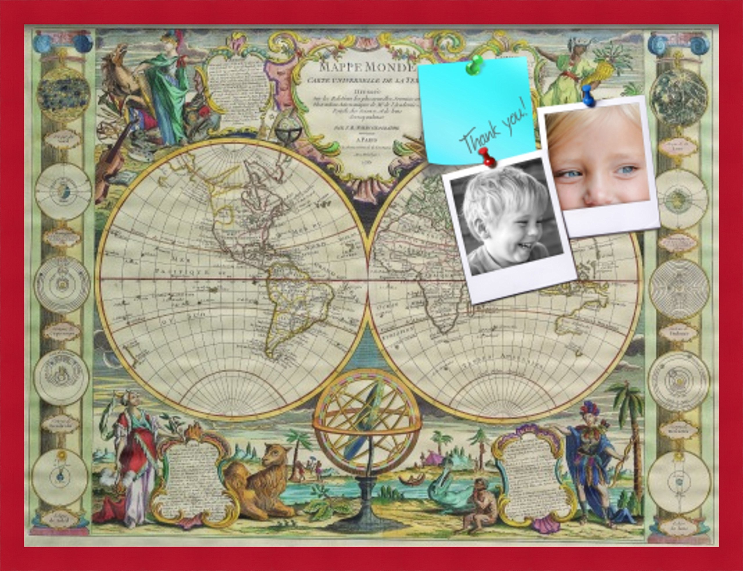PinPix custom printed pin cork bulletin board made from canvas, World Map 32 x 24 Inches (Completed Size) and framed in Red Stain on Beech (PinPix-656)