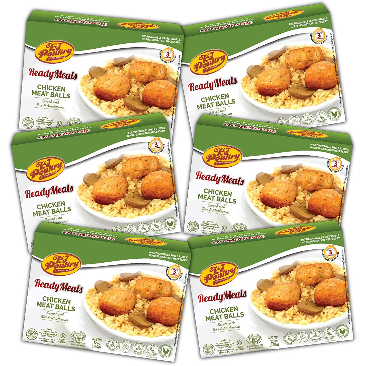 Kosher Mre Meat Meals Ready to Eat, Chicken Meat Balls (6 Pack) - Prepared Entree Fully Cooked, Shelf Stable Microwave Dinner, Deliverd Home – Travel, Military, Camping, Emergency Survival Canned Food