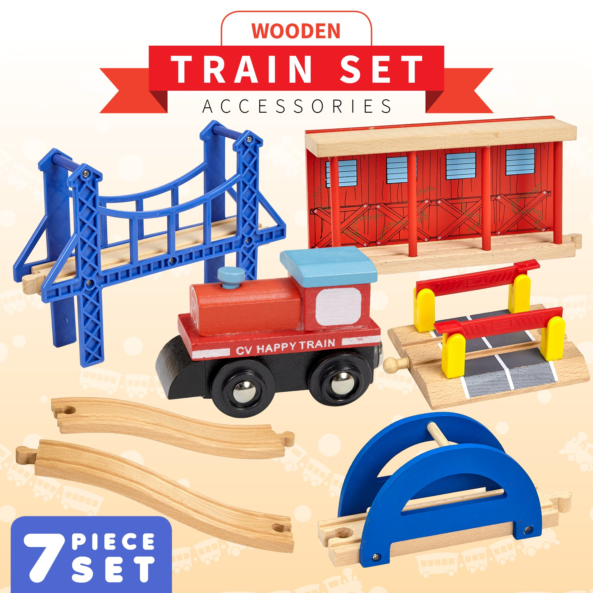 Dragon Drew Wooden Train Accessories Set 100% Compatible All Major Train Brands