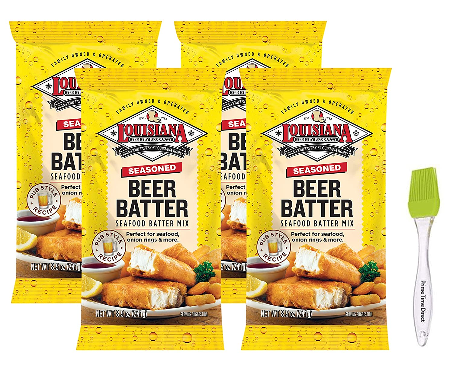 Louisiana Fish Fry Seasoned Beer Batter Mix 8.5 oz (Pack of 4) Bundled with Prime Time Direct Silicone Basting Brush in a PTD Sealed Bag