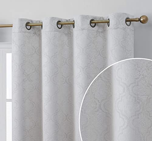 HLC.ME Redmont Lattice Pattern Thermal Insulated Energy Efficient Room Darkening Privacy Blackout Grommet Curtain Panel