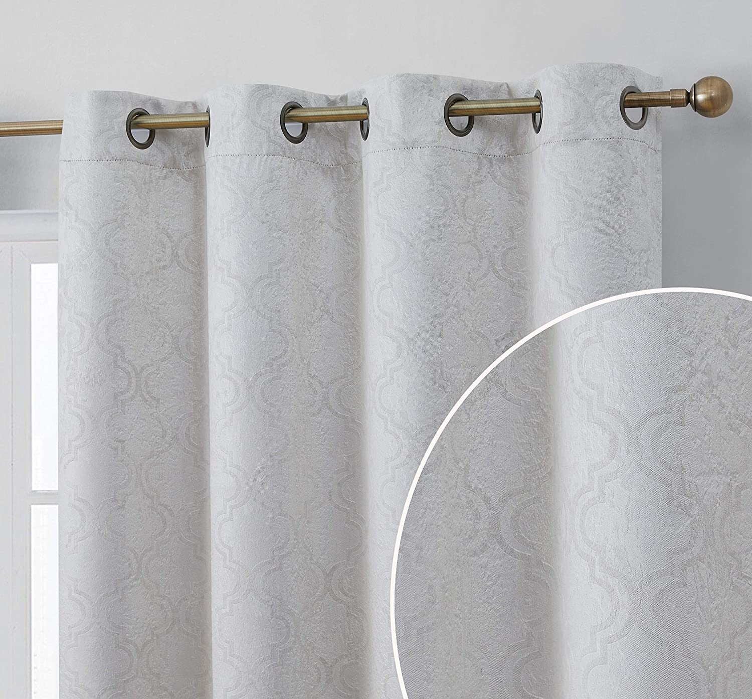 HLC.ME Redmont Lattice Pattern Thermal Insulated Energy Efficient Room Darkening Privacy Blackout Grommet Curtain Panels for Bedroom - Light Blocking - Set of 2 Panels (54 x 84 Inch Long, Light Grey)