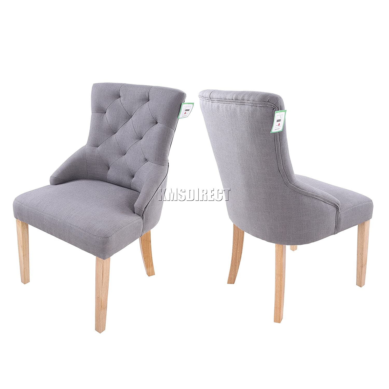 FoxHunter Furniture Set of 2 Premium Grey Linen Fabric Dining