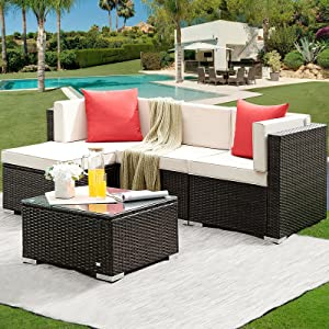 HONBAY 5 Pcs Patio Furniture Sets Outdoor PE Rattan Wicker Sectional Sofa Couch Set Wicker Patio Conversation Set with Coffee Table for Outdoor, Beige