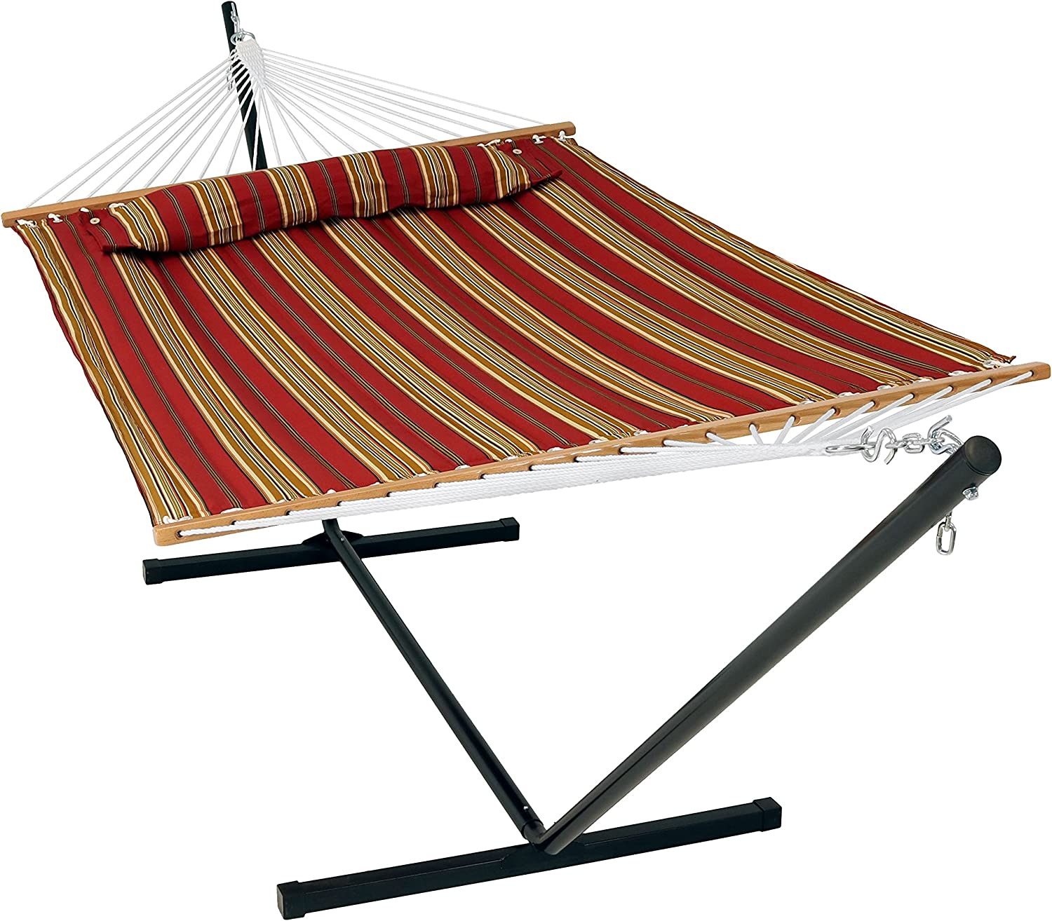 Sunnydaze 12 ft Steel Stand with Red Double Spreader Bar Hammock Combo Set