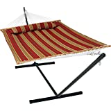 Sunnydaze 2 Person Double Hammock with 12 Foot Portable Steel Stand & Spreader Bar, Quilted Fabric Bed, Red Stripe