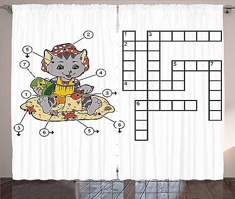 Búsqueda de palabras Puzzle cortinas por Ambesonne, crucigrama Juego para Niños, diseño de gato sobre playa y castillos ...