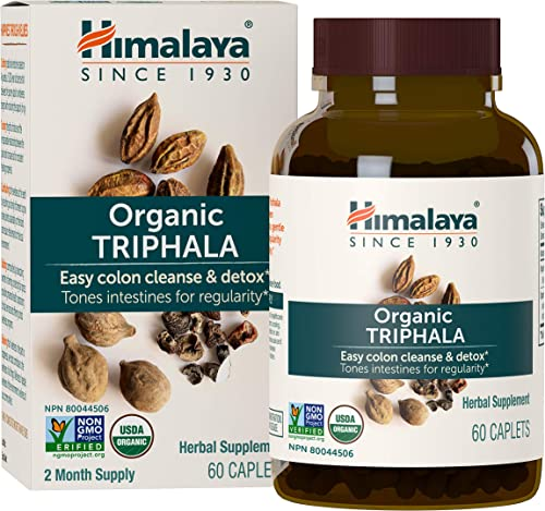Himalaya Organic Triphala, Equivalent to 1,380mg of Triphala Powder for Colon Cleanse and Detox, 60 Caplets, 2 Month Supply.