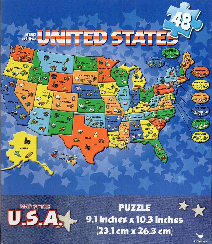 Amazon.com: Cardinal Games USA Map 48 Piece Puzzle - Educational Map ...