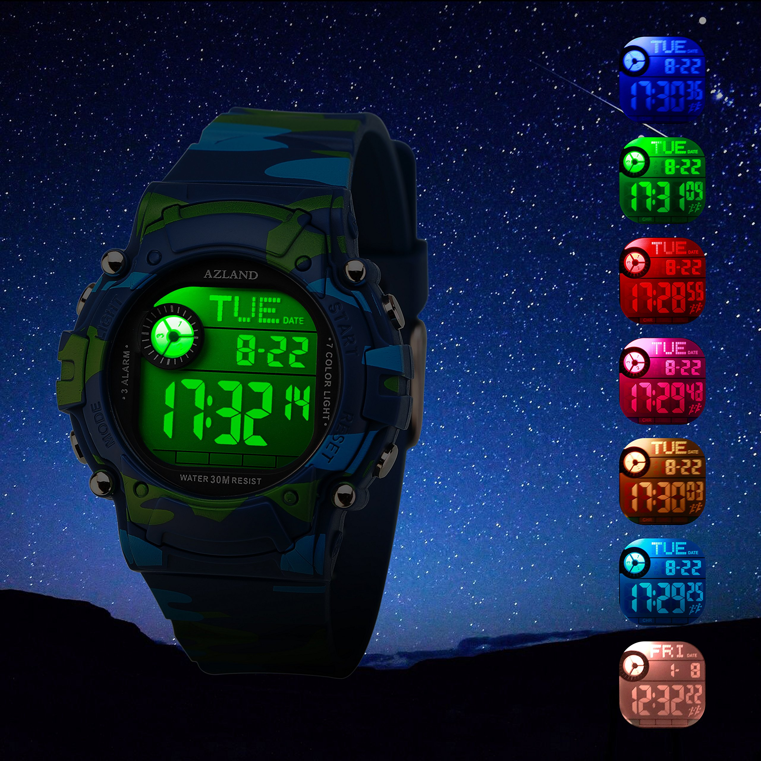 AZLAND 7 Colors Flashing, Multiple Alarms Reminder Sports Kids Wristwatch Waterproof Boys Girls Digital Watches Camo, for Age 4-12 by AZLAND (Image #2)