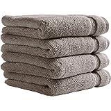 Amazon Brand – Stone & Beam Heavyweight Turkish Cotton Washcloth Set, Set of 4, Heather