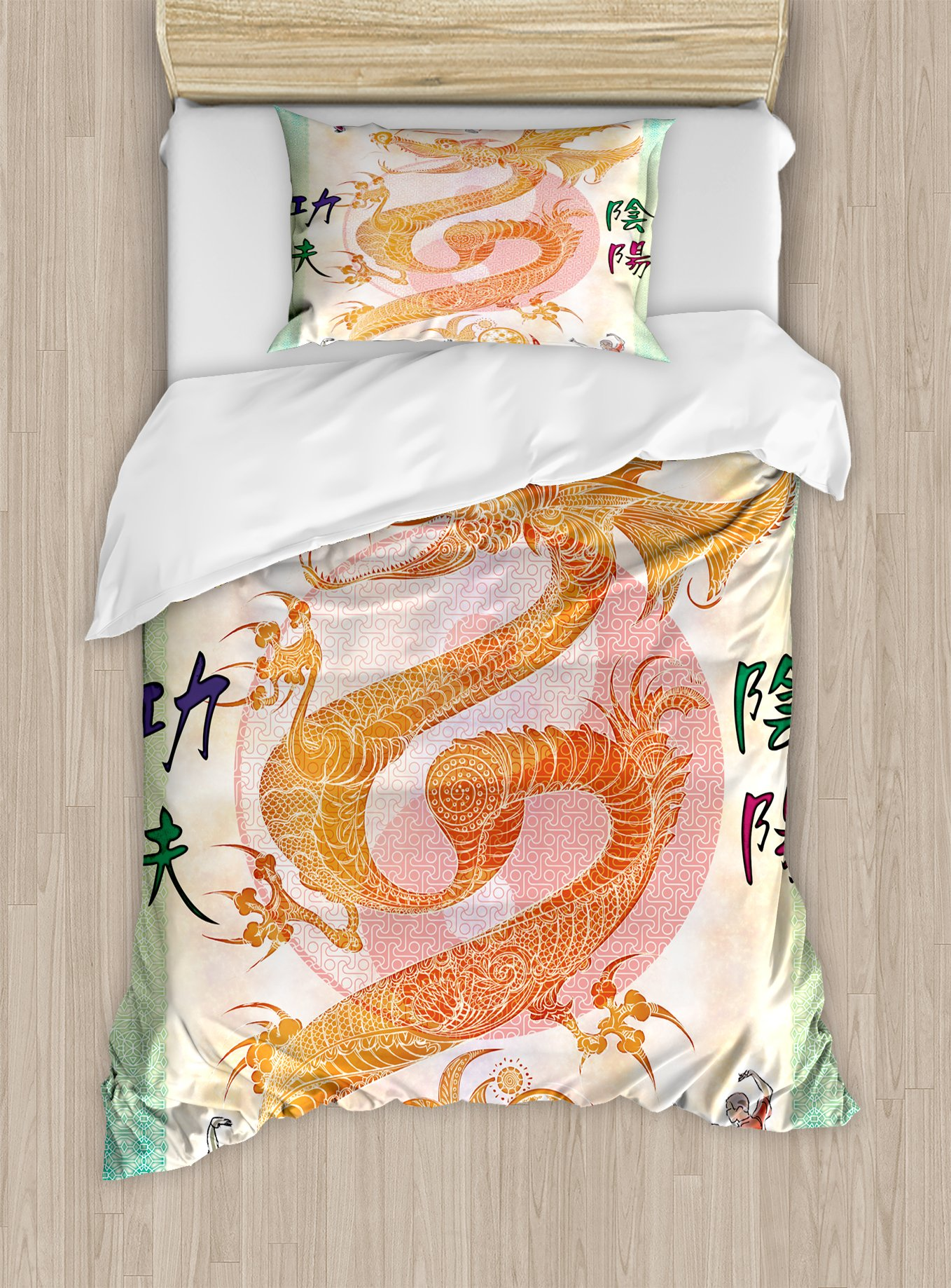 Ambesonne Dragon Duvet Cover Set Twin Size, Asian Chinese Dragon with Martial Arts Figures Japanese Samurai Ying Yang Picture, Decorative 2 Piece Bedding Set with 1 Pillow Sham, Multicolor