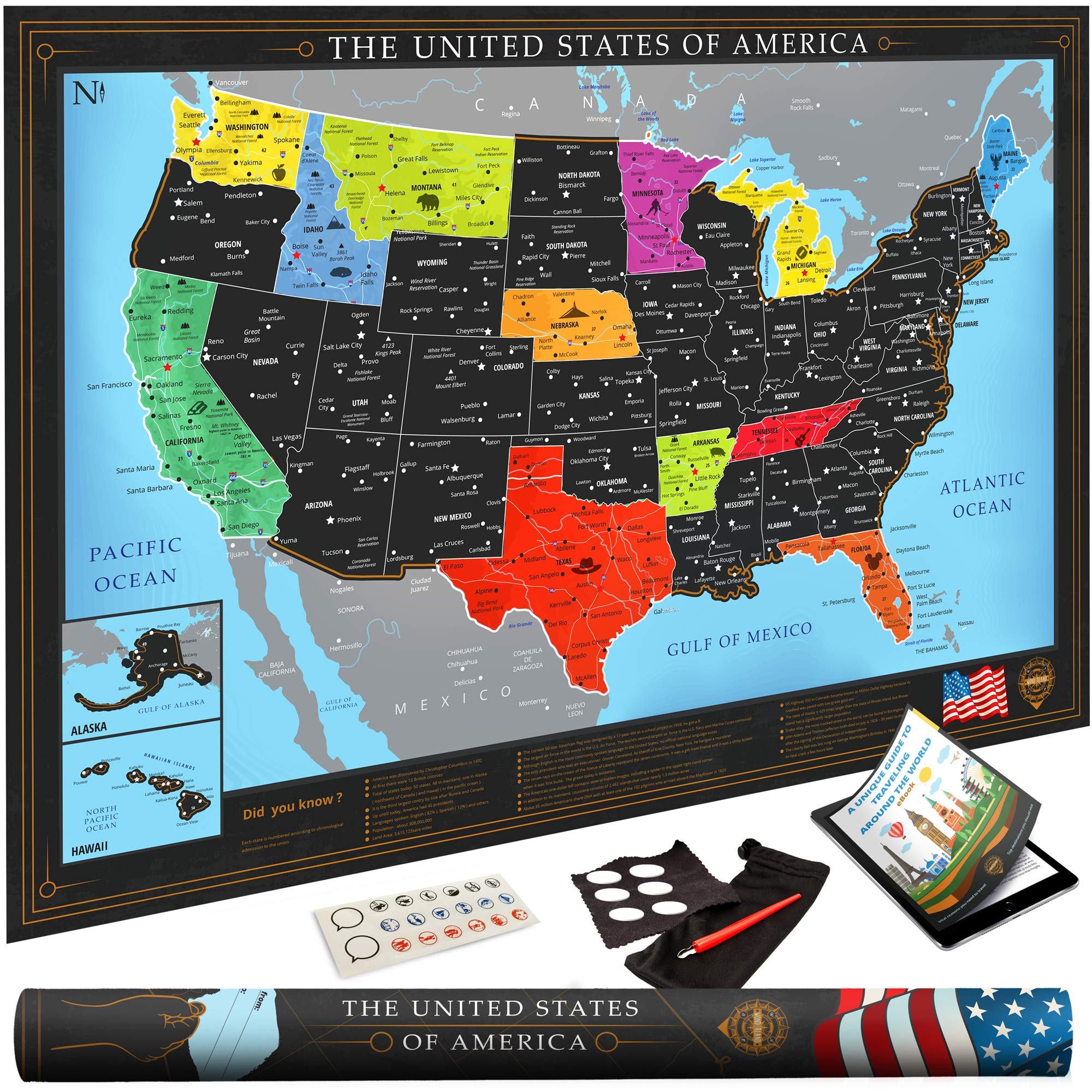 Premium Scratch Off USA Map | Black Personalized Wall Map Poster ...