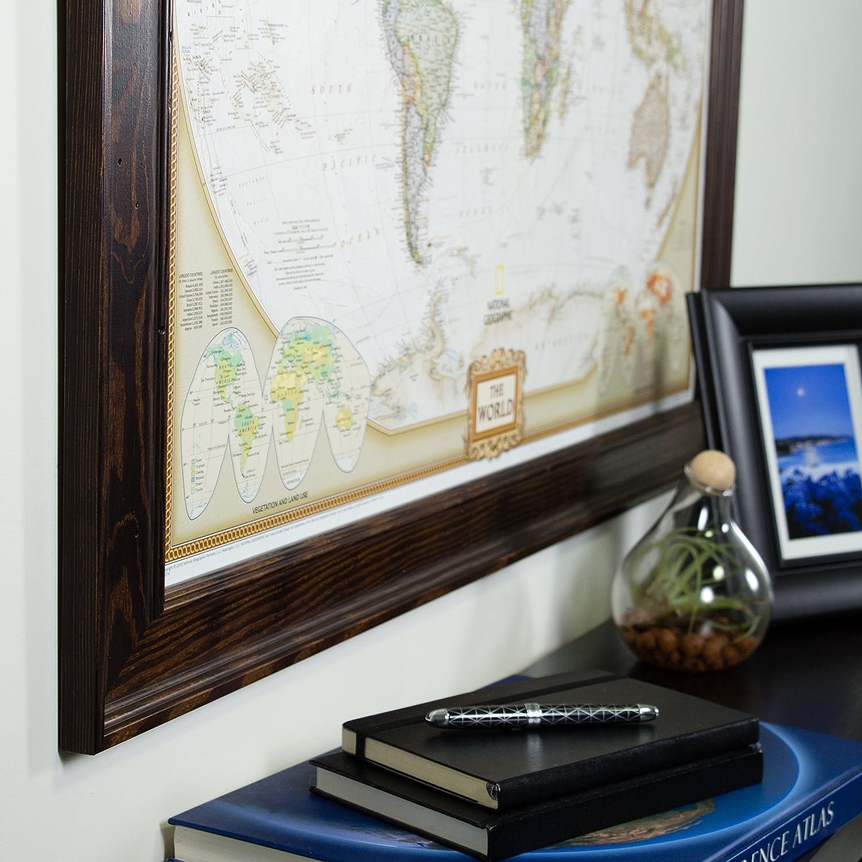 Craig Frames Wayfarer, Executive World Push Pin Travel Map, Dark ...