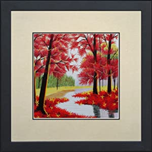 King Silk Art 100% Handmade Embroidery Mixed Group Feng Shui Japanese Maple Leaves Forest Chinese Print Framed Landscape Painting Anniversary Wedding Birthday Party Gift Oriental Asian Wall Art D?cor Artwork Tapestry Hanging Picture Gallery 37017WFG