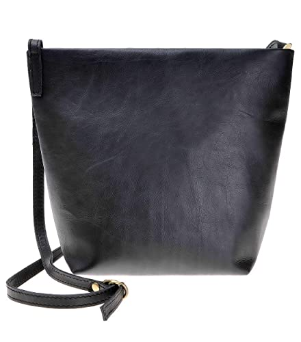 d0439c7e4d4a ZLYC Women Handmade Simple Classic Super Soft Calf Leather Bucket Cross  Body Bag