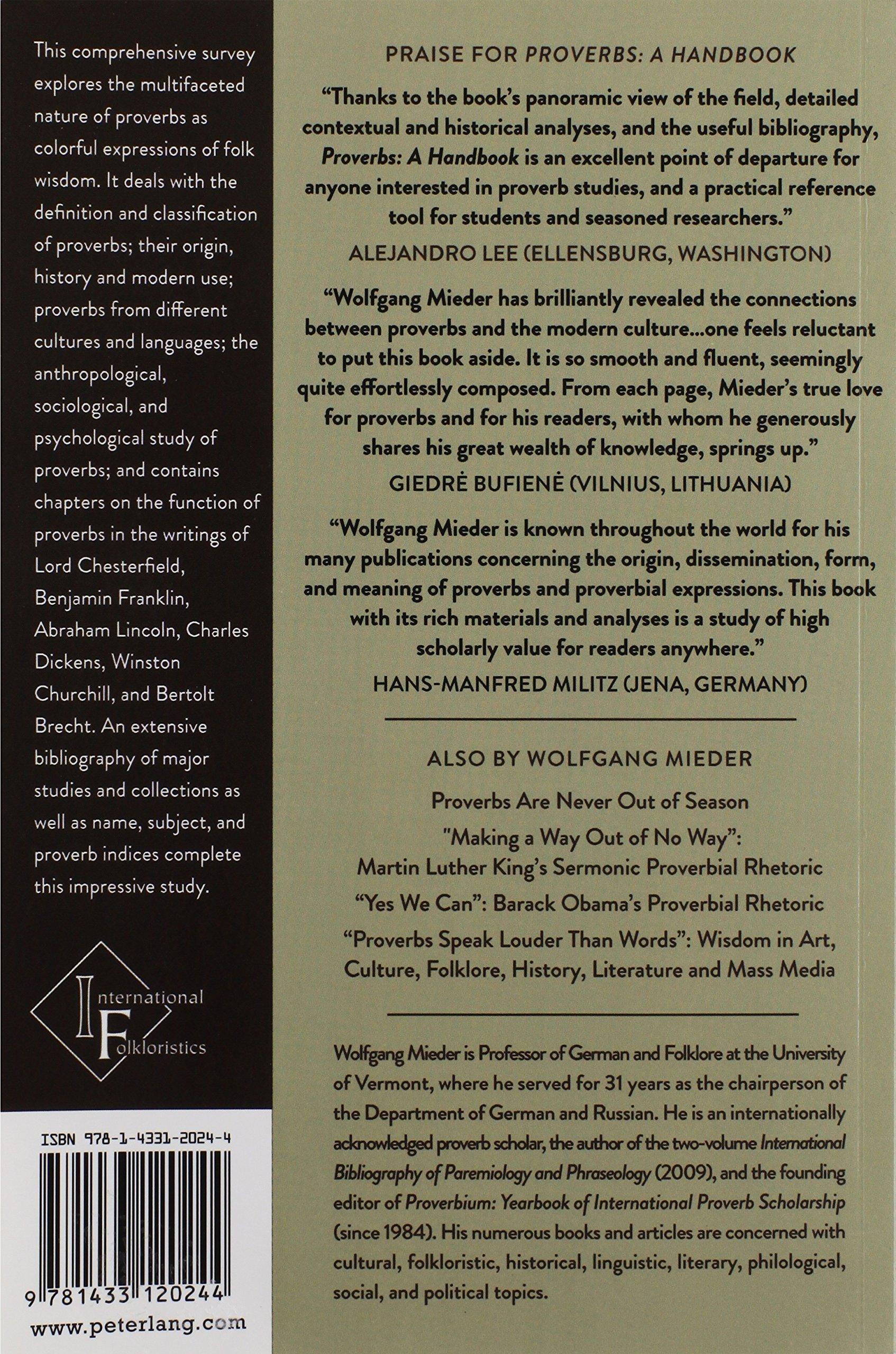Proverbs: A Handbook (International Folkloristics)