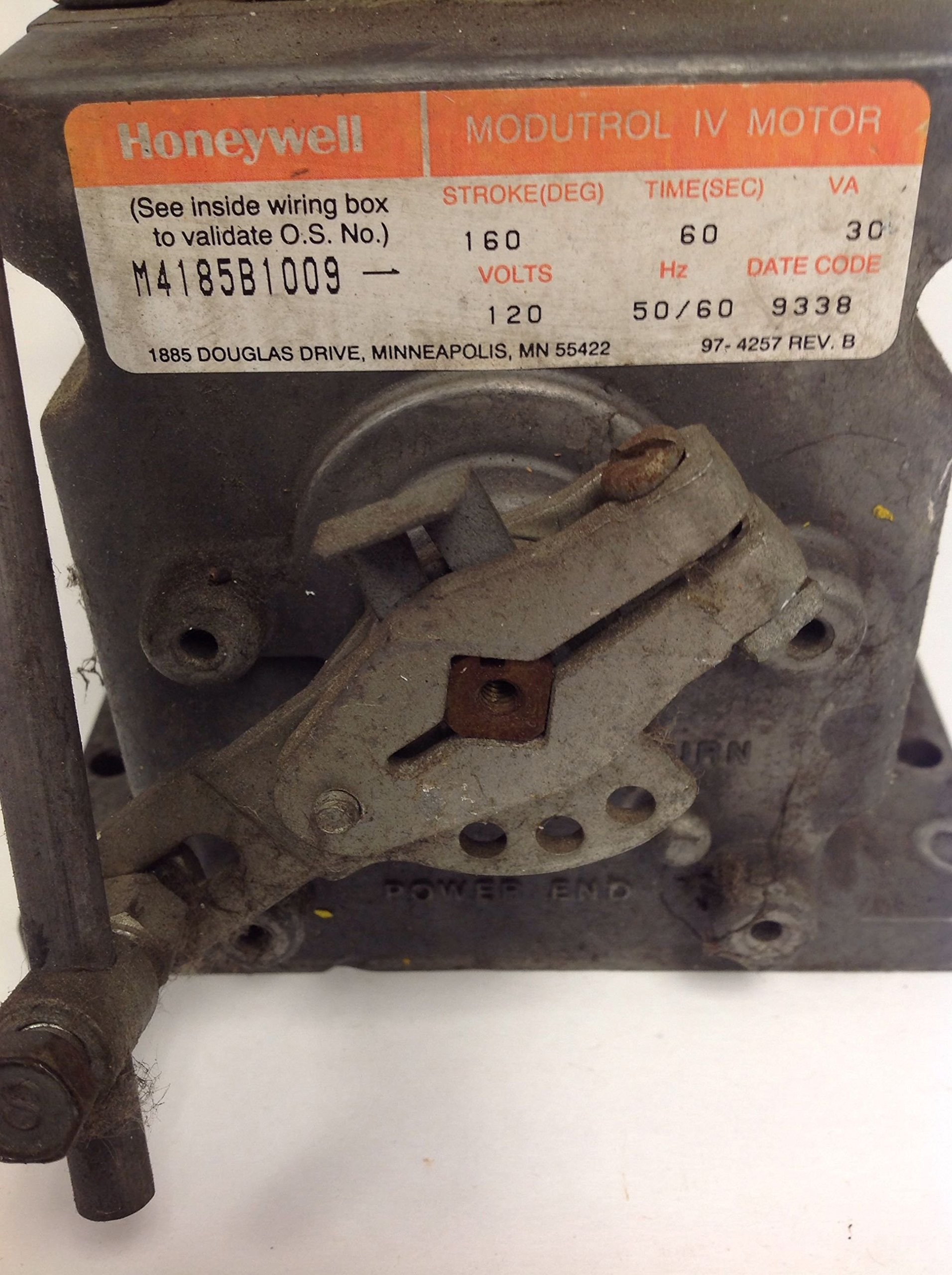 Honeywell M4185B1009 Spring Return, Two Position, Line Voltage, 1 Aux.Switch, 120V, 60 lb-in