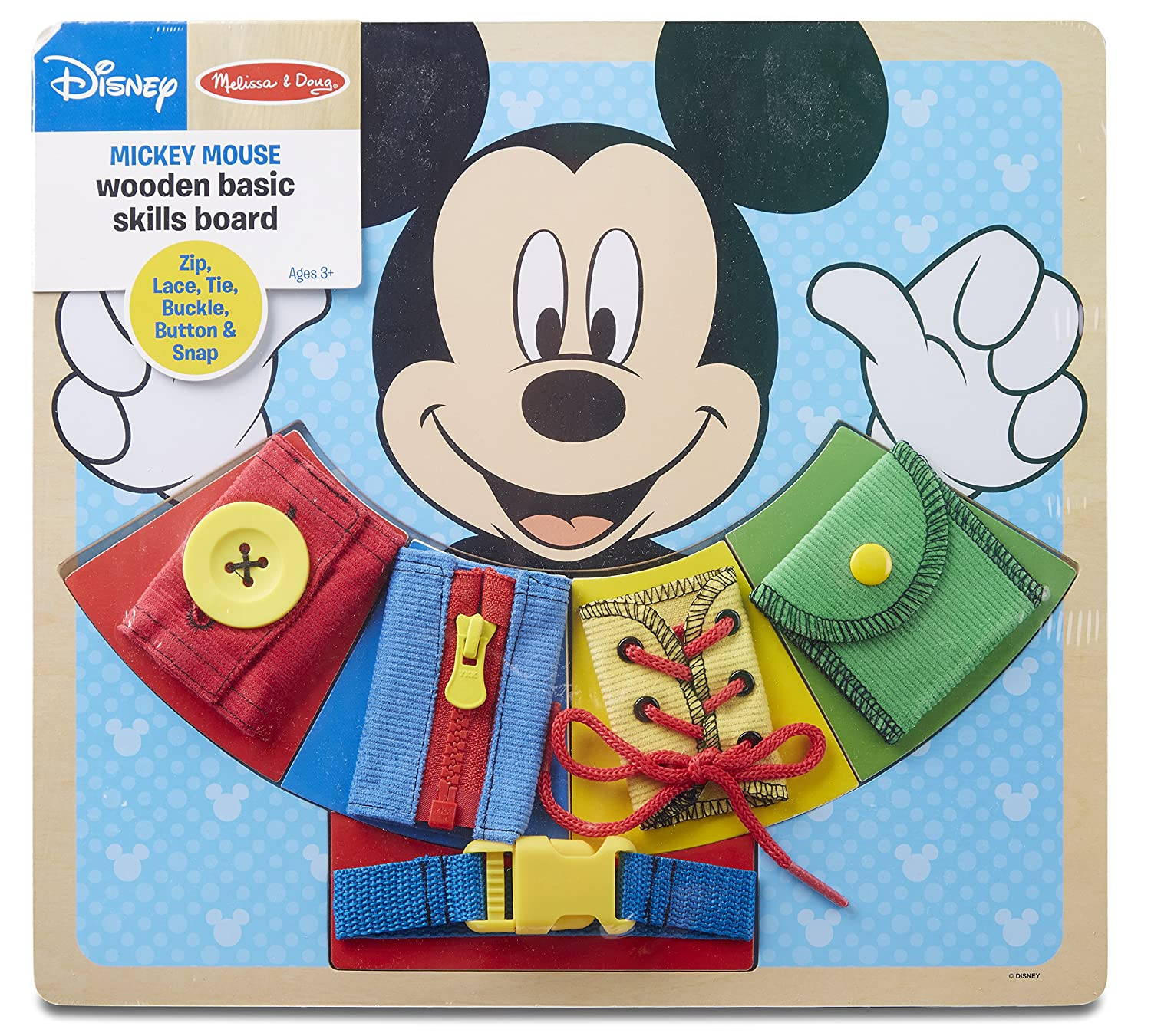 Melissa Doug Mickey Mouse Wooden Basic Skills Board Zip Lace Tie Buckle Button and Snap