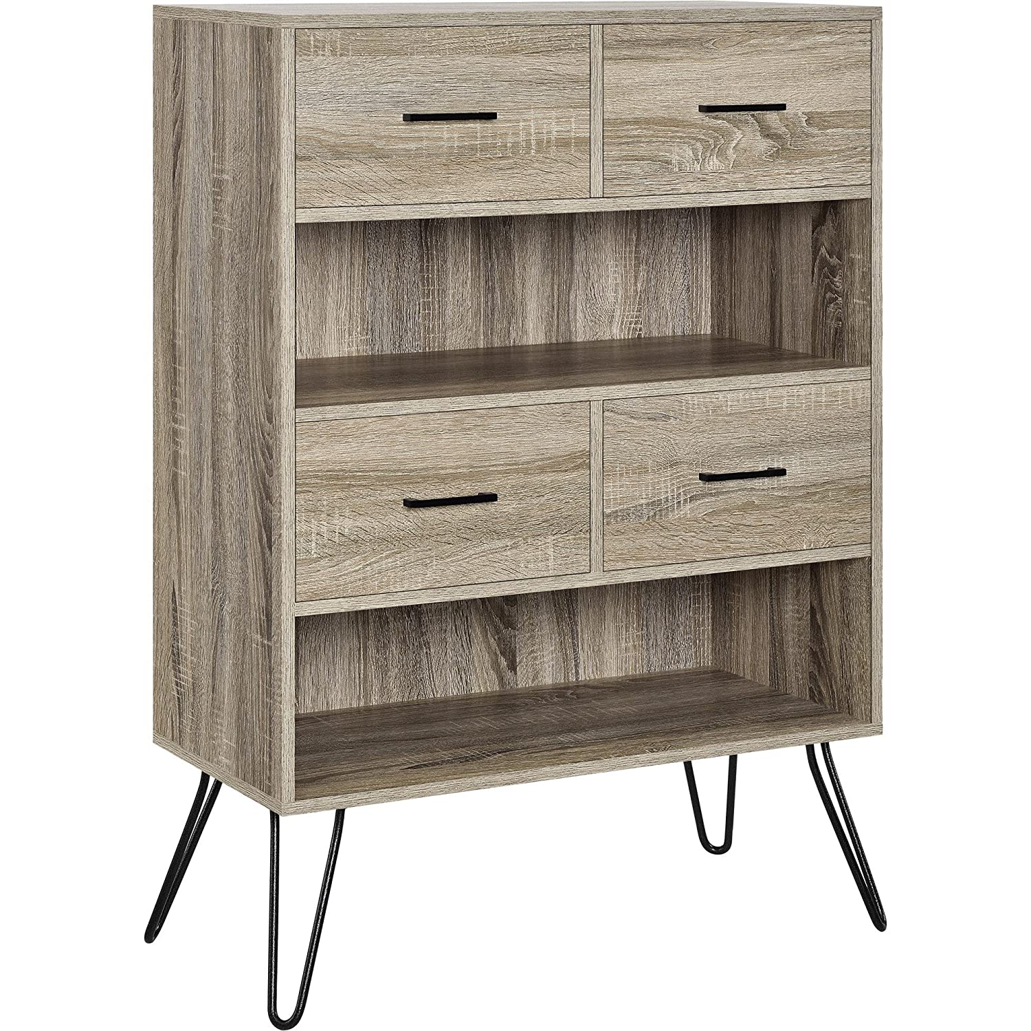Amazon Ameriwood Home Landon Bookcase With Bins Weathered Oak Kitchen Dining