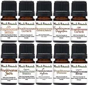 Miracle Botanicals Frankincense Essential Oil Sampler - Set of 10 100% Pure Therapeutic Grade Frankincense Essential Oils - (10) 5ml