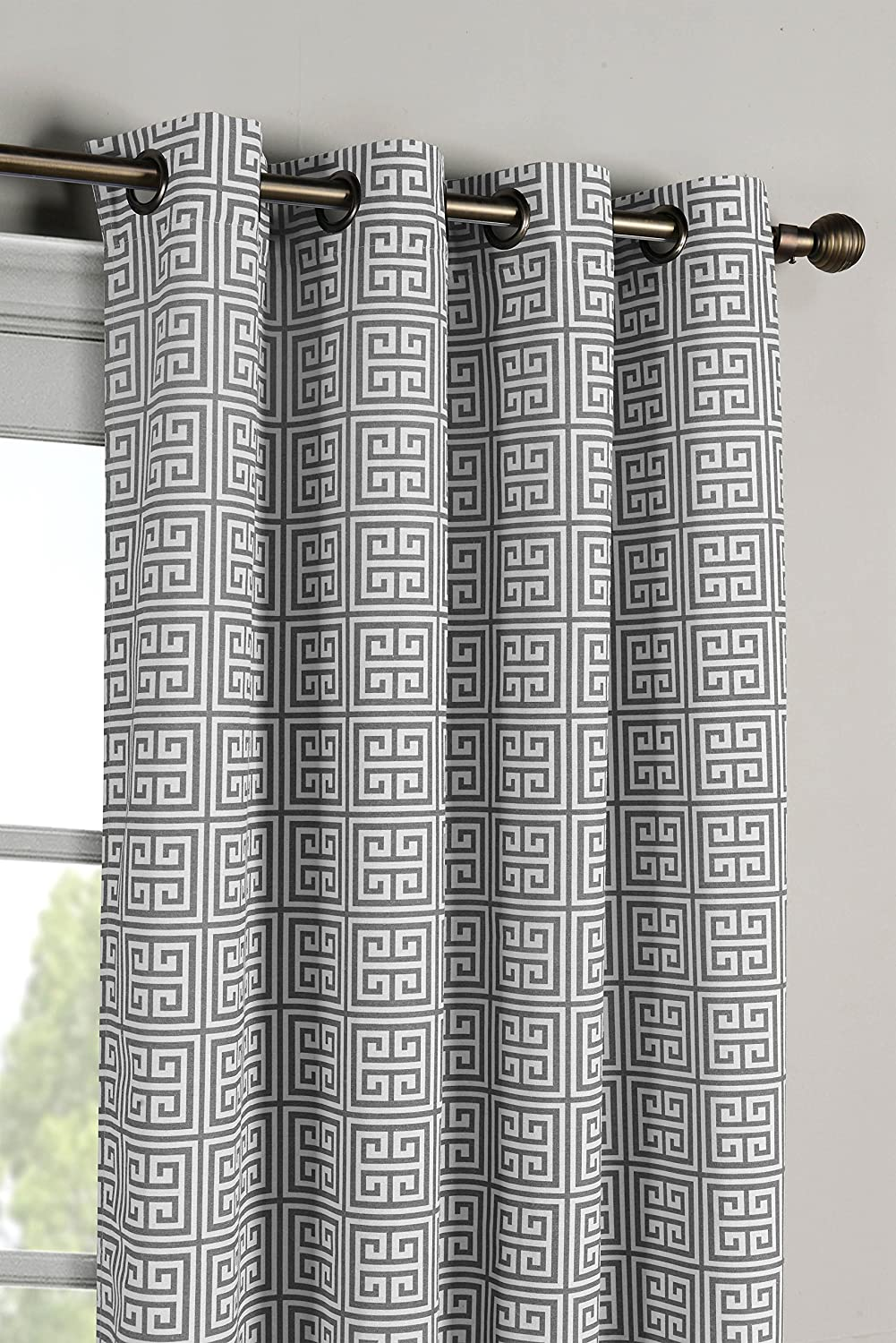 Window Elements Greek Key Cotton Blend Extra Wide 108 x 96 in. GrommetCurtain Panel Pair, Grey