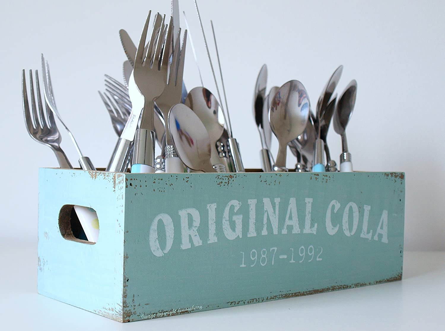 Cutlery Holder - Retro Style Pastel Blue/Turquoise Wooden Utensil ...