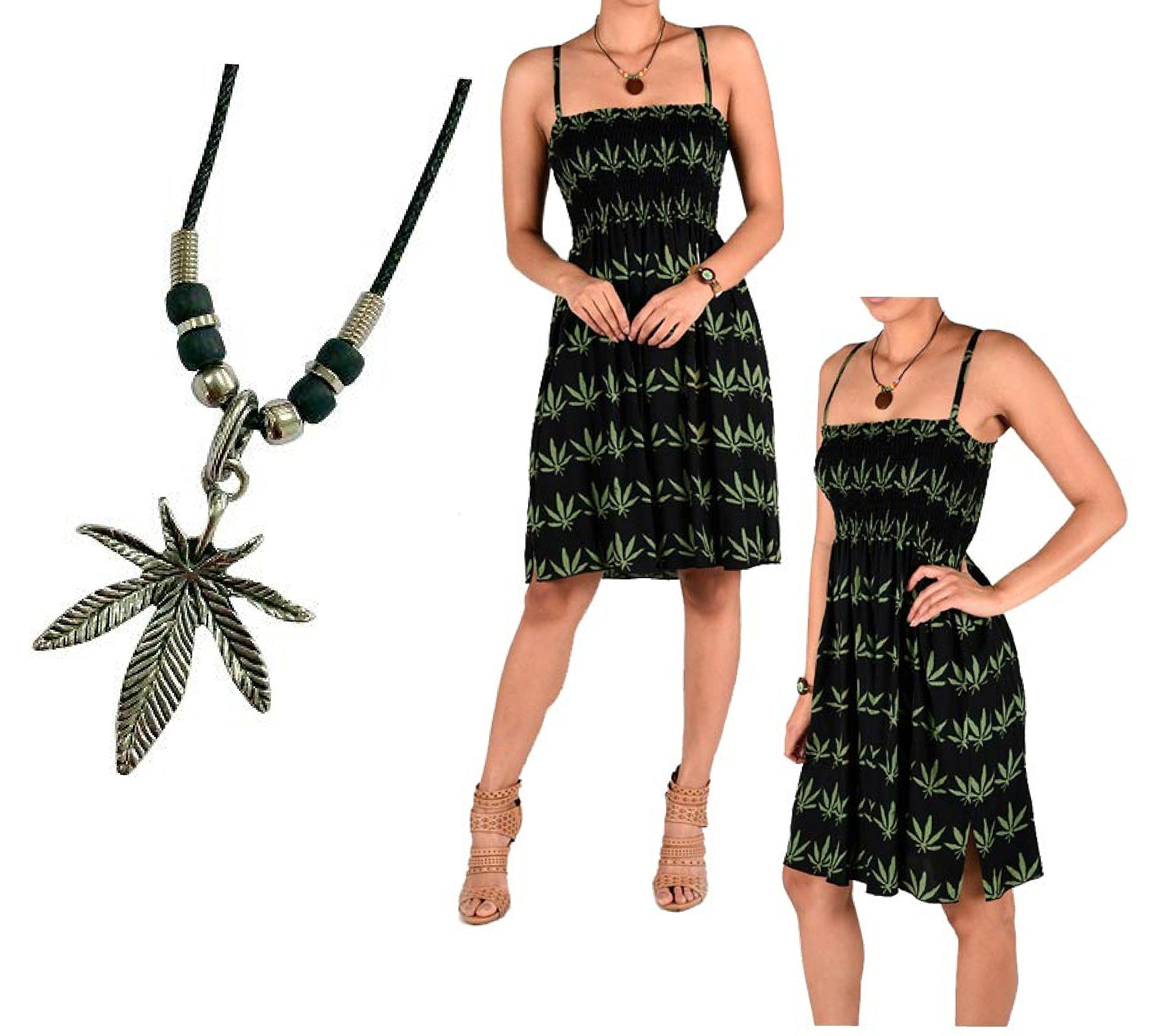 2 pcs Womens Marijuana Green Leaf Mini Skirt Dress Pot Leaves Weed Blunt Dress Size S, M, L, XL w/Cannabis Pendant Necklace