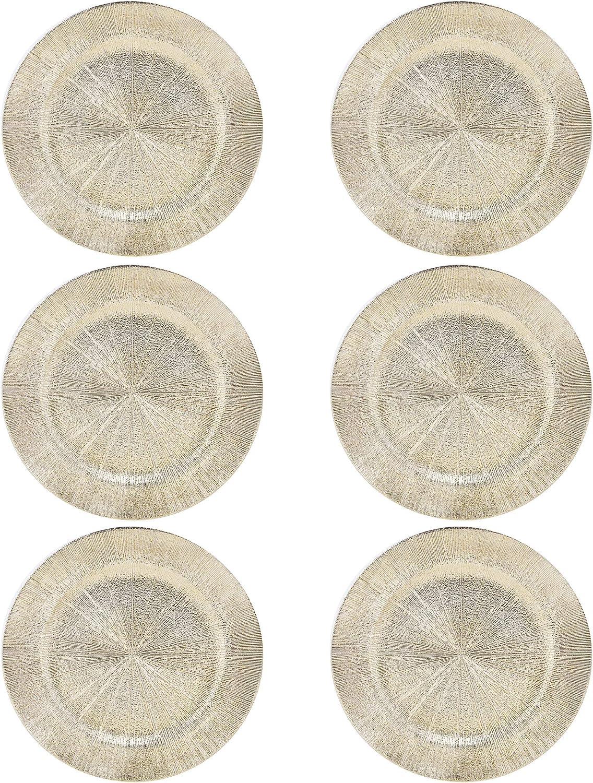 Gold - Blast, 4 33cm Plastic Christmas Charger Plates