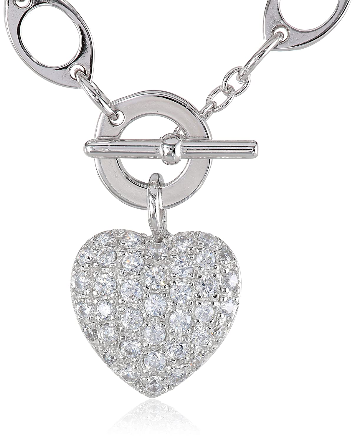 Bling Jewelry Pave CZ Puffed Heart Pendant Sterling Silver Necklace 18 Inches BPO1T9Imn