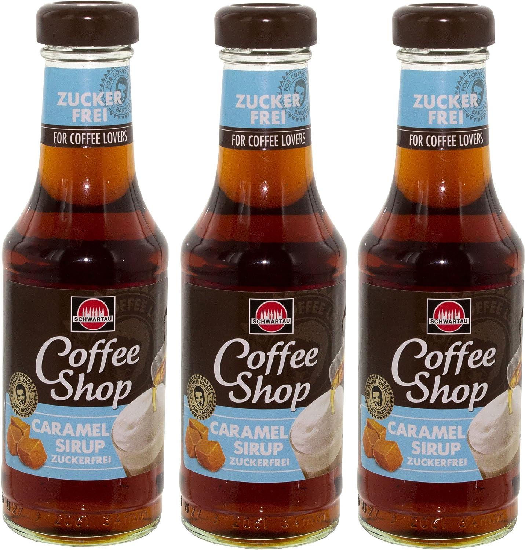 Schwar rocío Coffee Shop Caramel Sirup Azúcar libre, Juego de 3, para café, Postre y cócteles