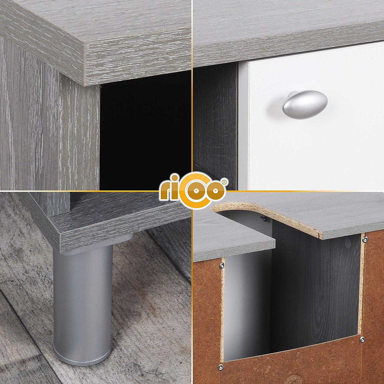 RICOO Meuble Salle de Bain WM100-EC-W pour lavabo Accessoire Armoire evier r/églable en Hauteur Commode de WC en Bois Structure MDF en Couleur Ch/êne Canyon et Porte en Blanc