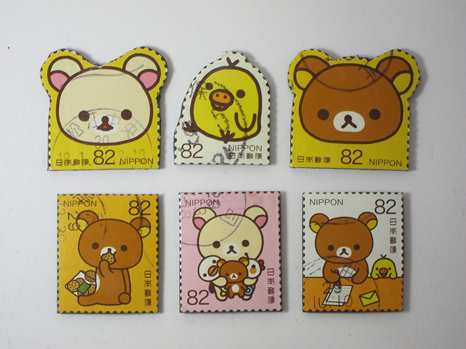 Teddy Bear and Duck Recycled Postage Stamp Magnets - Set of 6 Rilakkuma Fridge Magnets Item#529