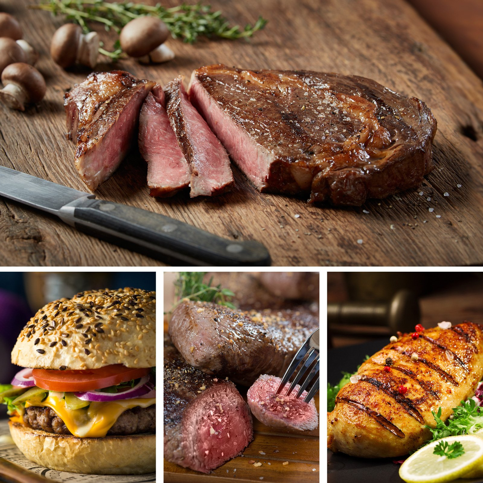 Ultimate Grilling Assortment - Includes Ribeye and Top Sirloin Steaks, Angus Steak Burgers, and Lemon Herb Chicken Breasts - Chicago Steak Company - ASSRT401 by Chicago Steak Company