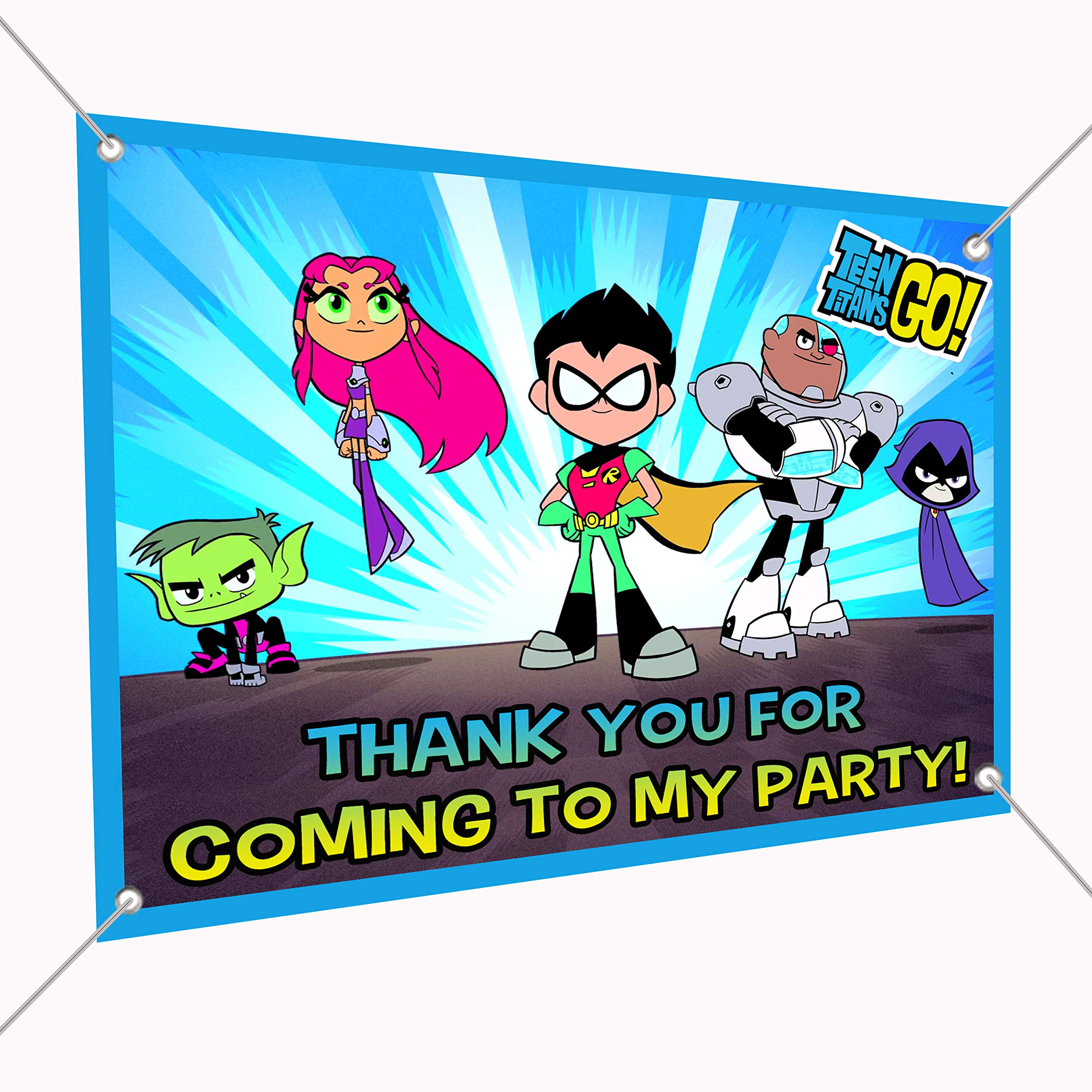 Teen Titans Go Banner Large Vinyl Indoor or Outdoor Banner Sign Poster Backdrop, party favor decoration, 30'' x 24'', 2.5' x 2', Robin, Starfire, Cyborg, Raven, Beast Boy Super Heroes