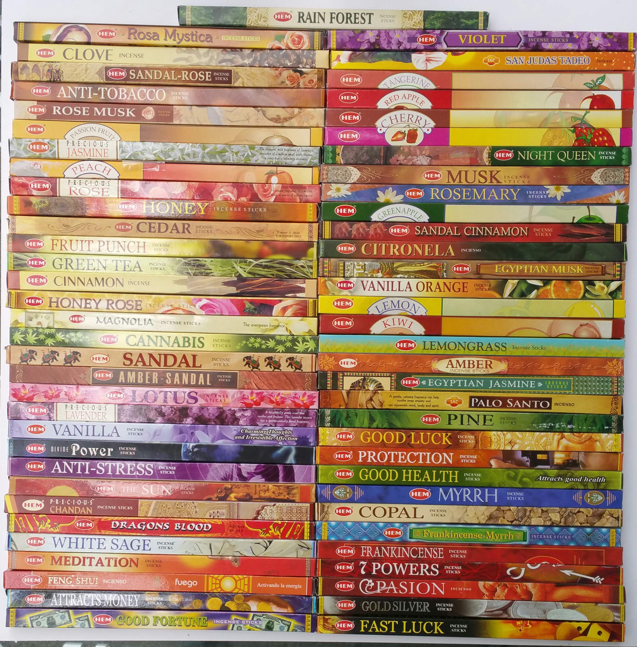 Hem Incense Variety sampler-64 Different scents x 8 Incense Sticks Each Variety, That's Total of 536 Sticks, a Great Inexpensive Way to Try Them All Most Complete Set You'll find Anywhere by The Better Scents